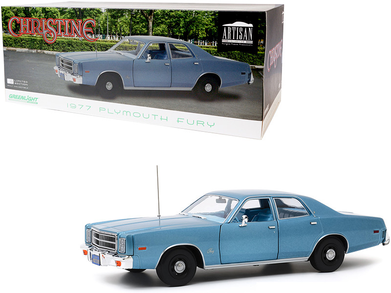 1977 Plymouth Fury Steel Blue Detective Rudolph Junkins' Christine 1983 Movie 1/18 Diecast Model Car Greenlight 19082