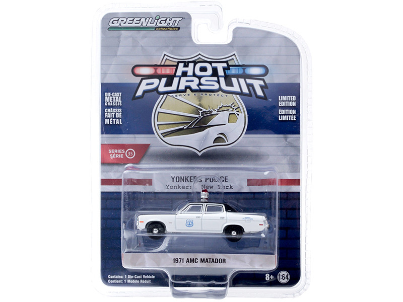 1971 AMC Matador Yonkers Police New York White Black Hot Pursuit Series 35 1/64 Diecast Model Car Greenlight 42920 B