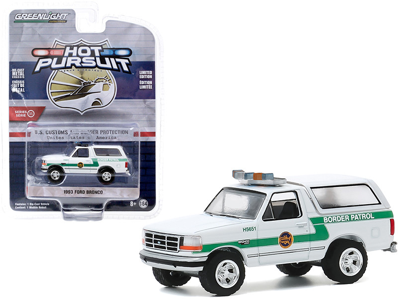 1993 Ford Bronco US Customs and Border Protection Border Patrol USA White with Green Stripes Hot Pursuit Series 35 1/64 Diecast Model Car Greenlight 42920 D