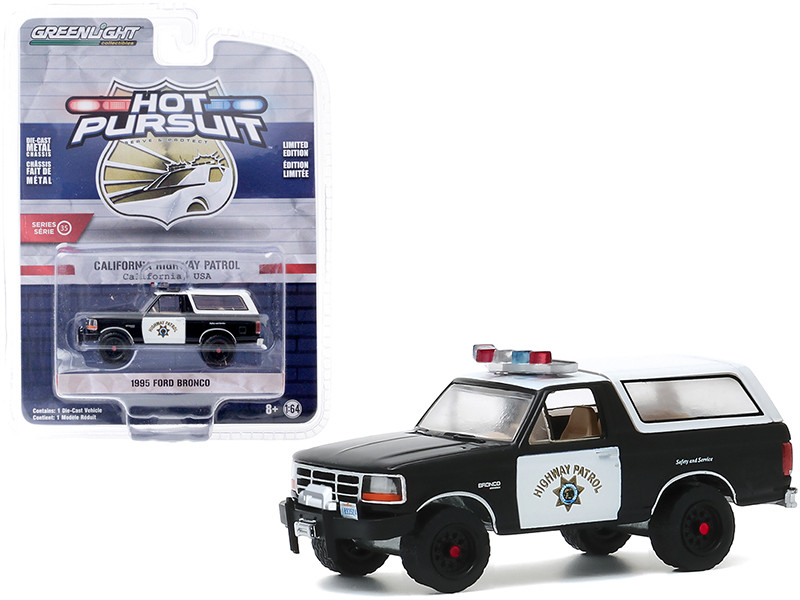 1995 Ford Bronco CHP California Highway Patrol White Black Hot Pursuit Series 35 1/64 Diecast Model Car Greenlight 42920 E
