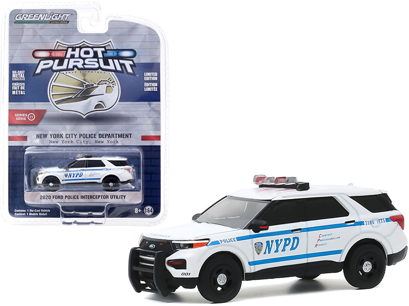 2020 Ford Police Interceptor Utility NYPD New York City Police Dept White Blue Stripes Hot Pursuit Series 35 1/64 Diecast Model Car Greenlight 42920 F