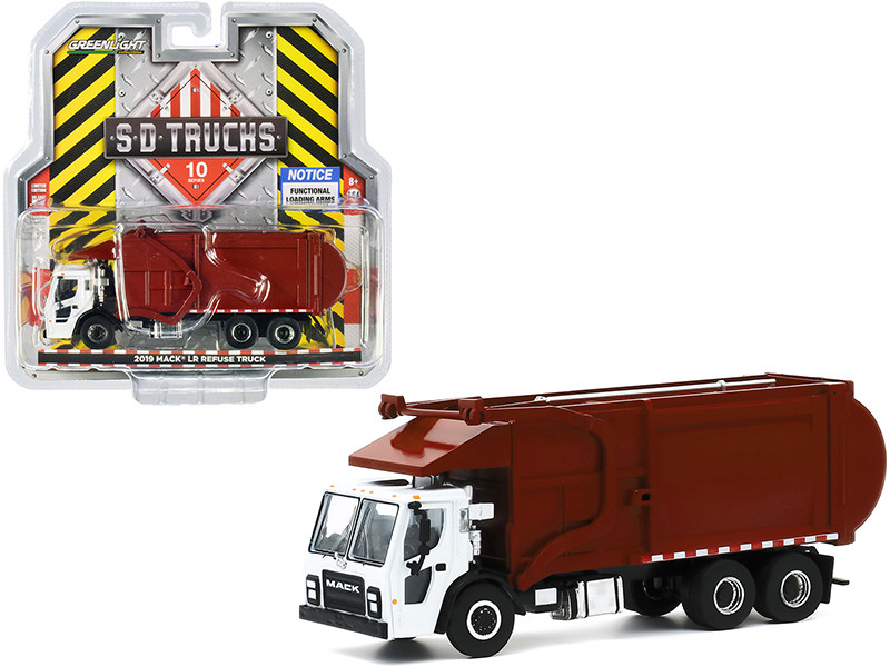 2019 Mack LR Refuse Garbage Truck White Burgundy SD Trucks Series 10 1/64 Diecast Model Greenlight 45100 C