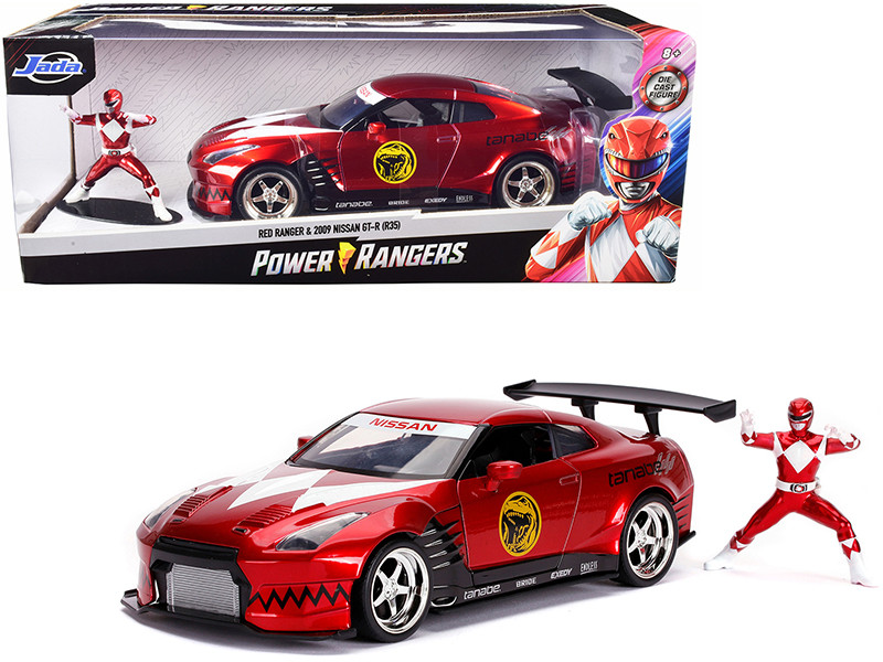 2009 Nissan GT-R R35 Candy Red Red Ranger Diecast Figurine Power Rangers 1/24 Diecast Model Car Jada 31908