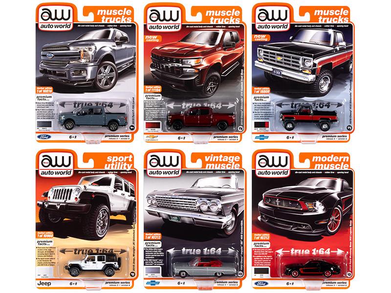 Autoworld Muscle Cars Premium 2020 Set A of 6 pieces Release 3 1/64 Diecast Model Cars Autoworld 64262 A