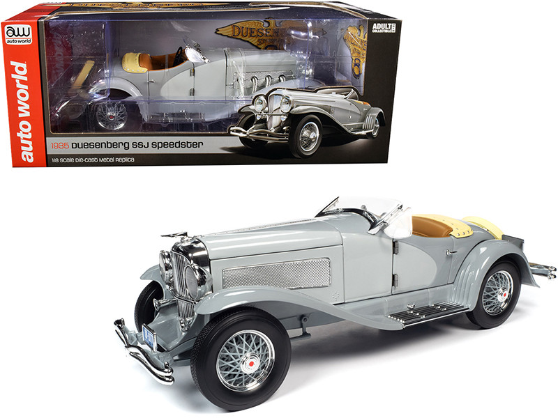1935 Duesenberg SSJ Straight-8 Speedster Light Gray Dark Gray 1/18 Diecast Model Car Autoworld AW266