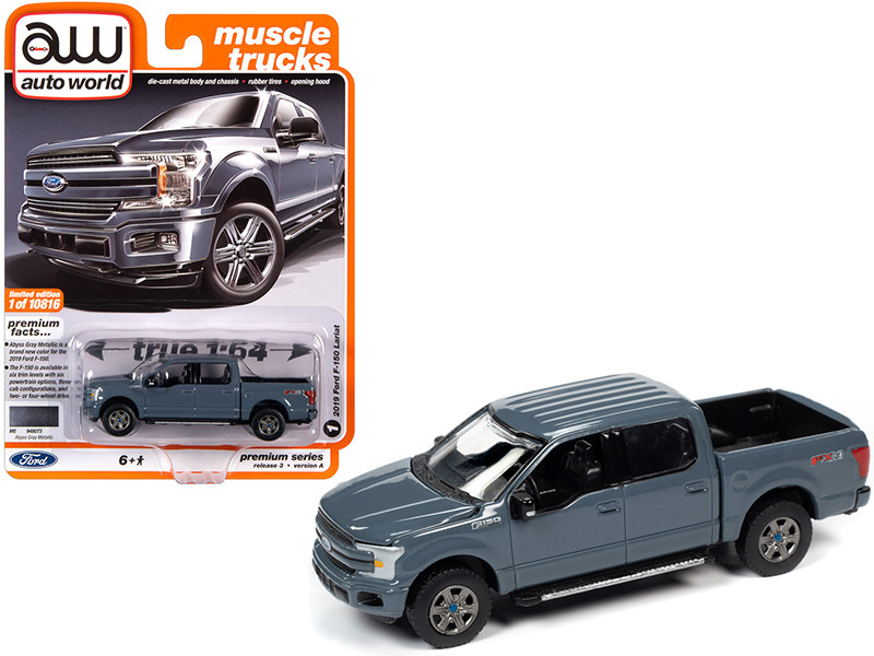 2019 Ford F-150 Lariat Pickup Truck Abyss Gray Muscle Trucks Limited Edition 10816 pieces Worldwide 1/64 Diecast Model Car Autoworld 64262 AWSP041 A