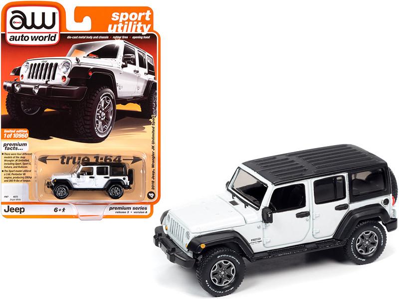 2018 Jeep Wrangler JK Unlimited Sport 4 door Bright White Black Top Sport Utility Limited Edition 10960 pieces Worldwide 1/64 Diecast Model Car Autoworld 64262 AWSP042 A