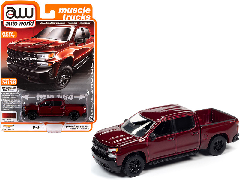 2019 Chevrolet Silverado Z71 Custom Trail Boss Pickup Truck Cajun Red Metallic Muscle Trucks Limited Edition 11104 pieces Worldwide 1/64 Diecast Model Car Autoworld 64262 AWSP043 A