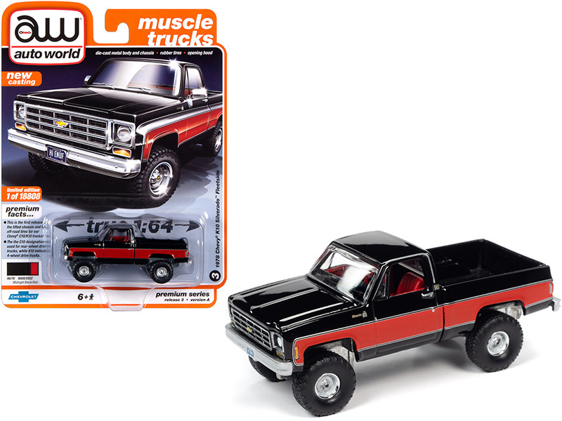1978 Chevrolet K10 Silverado Fleetside Pickup Truck Midnight Black Red Sides Muscle Trucks Limited Edition 18808 pieces Worldwide 1/64 Diecast Model Car Autoworld 64262 AWSP044 A