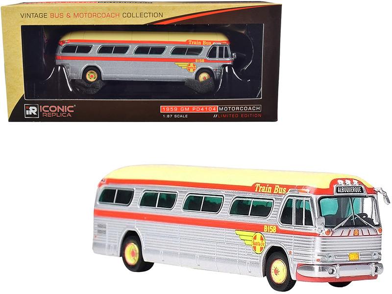1959 GM PD4104 Motorcoach Santa Fe Train Bus Destination Albuquerque Albuquerque New Mexico Silver Orange Yellow Top Vintage Bus & Motorcoach Collection 1/87 Diecast Model Iconic Replicas 87-0203
