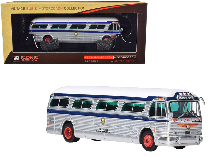 1959 GM PD4104 Motorcoach Bus Boardwalk Special Public Service Atlantic City New Jersey Silver Blue White Top Vintage Bus & Motorcoach Collection 1/87 Diecast Model Iconic Replicas 87-0205