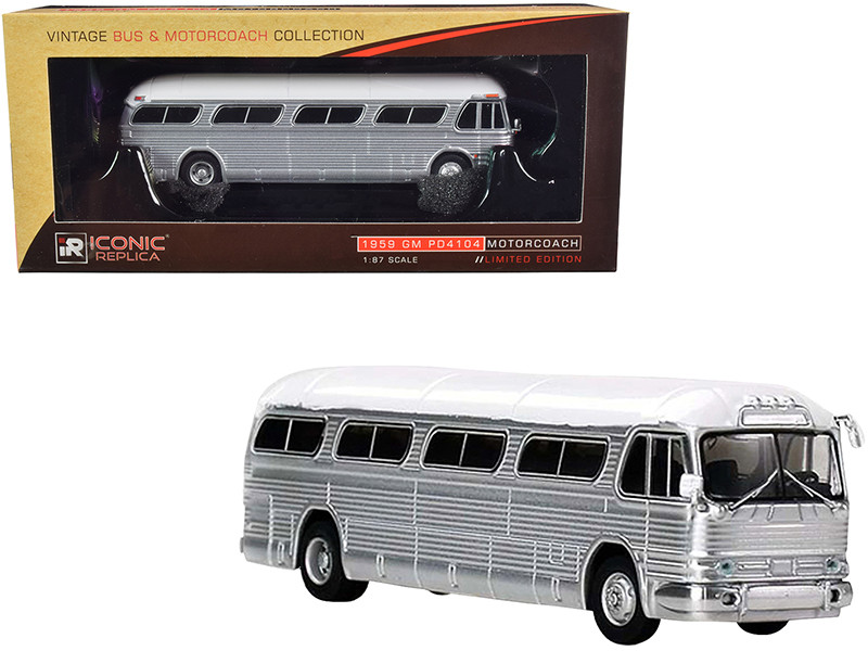 1959 GM PD4104 Motorcoach Bus Blank Silver White Top Vintage Bus & Motorcoach Collection 1/87 Diecast Model Iconic Replicas 87-0206