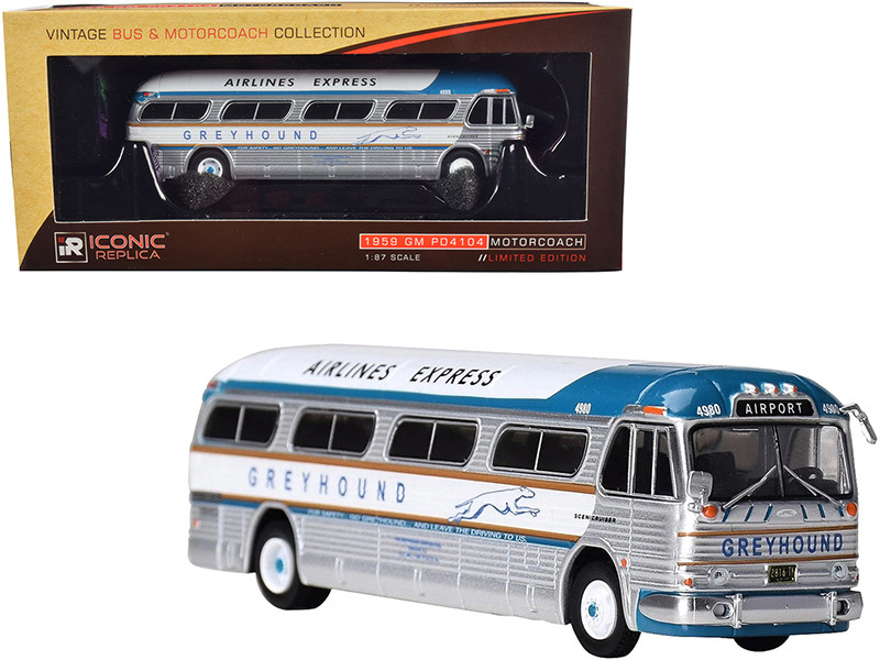 1959 GM PD4104 Motorcoach Bus Greyhound Airport Express Destination Airport Silver Blue White Top Vintage Bus & Motorcoach Collection 1/87 Diecast Model Iconic Replicas 87-0207