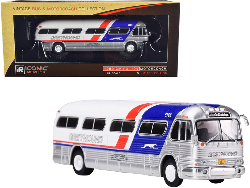 1959 GM PD4104 Motorcoach Bus Greyhound Local Pepsi Paint Scheme Vintage Bus & Motorcoach Collection 1/87 Diecast Model Iconic Replicas 87-0208