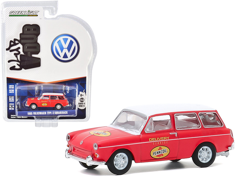 1965 Volkswagen Type 3 Squareback Pennzoil Delivery Service Red White Top Club Vee V-Dub Series 11 1/64 Diecast Model Car Greenlight 30000 C