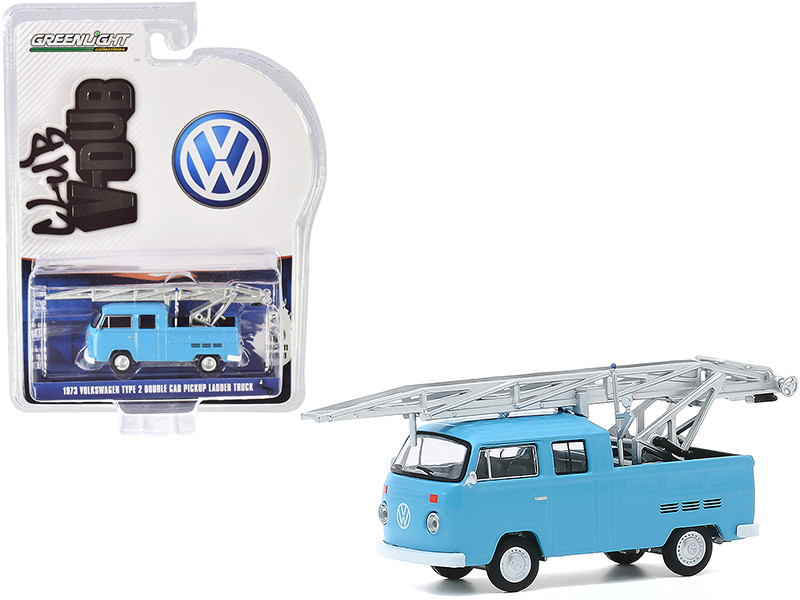 1973 Volkswagen Type 2 Double Cab Pickup Ladder Truck Light Blue Club Vee V-Dub Series 11 1/64 Diecast Model Car Greenlight 30000 D