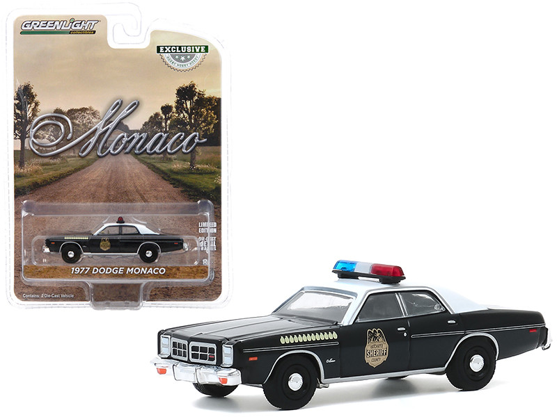 1977 Dodge Monaco Black White Top Hatchapee County Sheriff Hobby Exclusive 1/64 Diecast Model Car Greenlight 30152