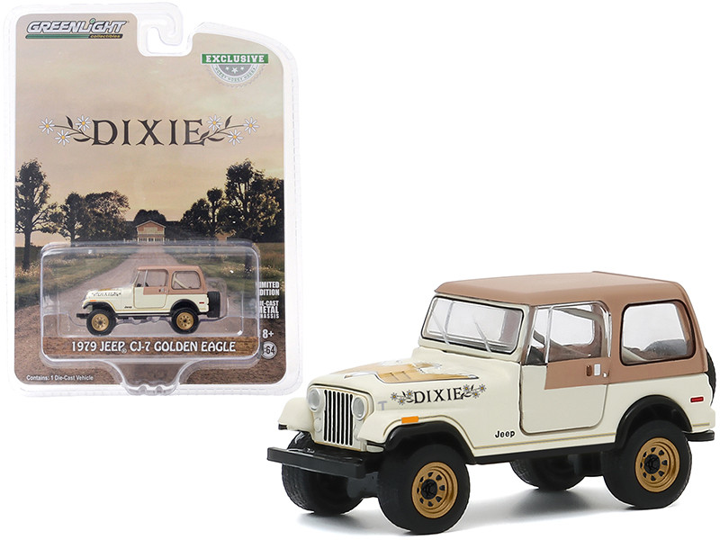 1979 Jeep CJ-7 Golden Eagle Dixie Cream Hobby Exclusive 1/64 Diecast Model Car Greenlight 30175