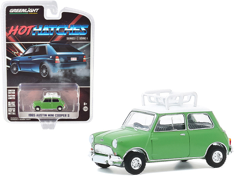 1965 Austin Mini Cooper S Roof Rack Green White Top Hot Hatches Series 1 1/64 Diecast Model Car Greenlight 47080 A