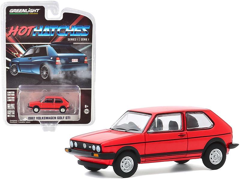 1982 Volkswagen Golf GTI Red Black Stripes Hot Hatches Series 1 1/64 Diecast Model Car Greenlight 47080 B