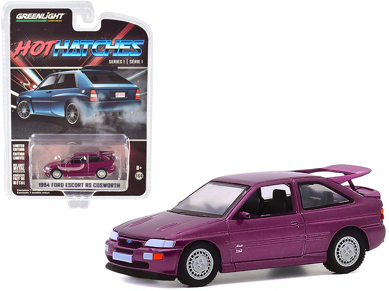 1994 Ford Escort RS Cosworth Monte Carlo Special Edition Jewel Violet Metallic Hot Hatches Series 1 1/64 Diecast Model Car Greenlight 47080 D