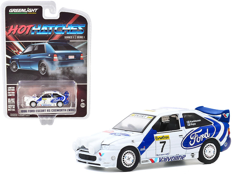 1996 Ford Escort RS Cosworth WRC #7 Rally Car Hot Hatches Series 1 1/64 Diecast Model Car Greenlight 47080 E