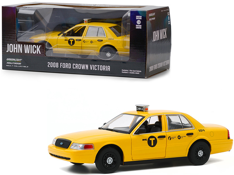 2008 Ford Crown Victoria NYC Taxi Yellow John Wick Chapter 2 2017 Movie 1/24 Diecast Model Car Greenlight 84113