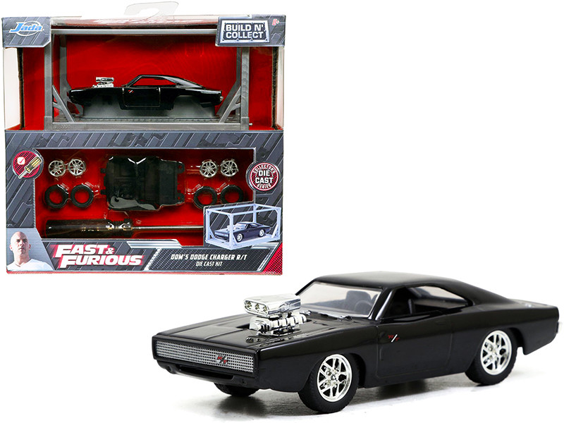 Model Kit Dom's Dodge Charger R/T Black Fast & Furious Movie Build N' Collect 1/55 Diecast Model Car Jada 31148