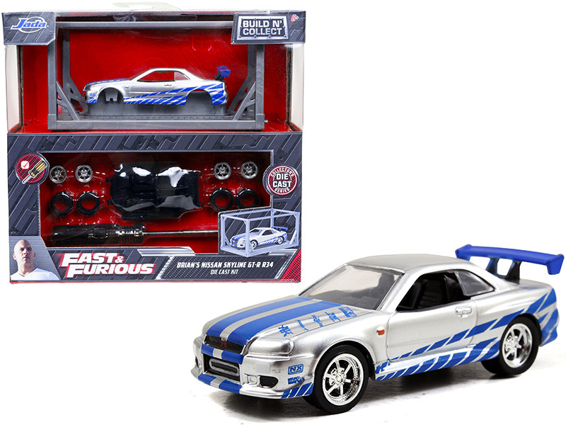 Model Kit Brian's Nissan Skyline GT-R R34 Silver Blue Fast & Furious Movie Build N' Collect 1/55 Diecast Model Car Jada 31288