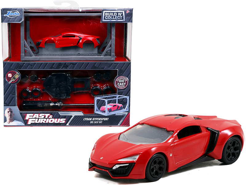 Model Kit Lykan Hypersport Red Black Wheels Fast & Furious Movie Build N' Collect 1/55 Diecast Model Car Jada 31289