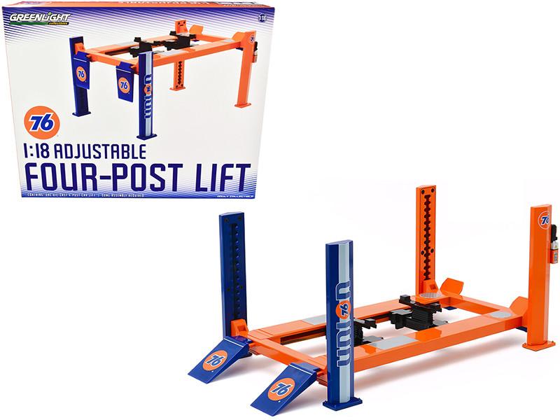 Adjustable Four Post Lift Orange Blue Union 76 1/18 Scale Diecast Model Cars Greenlight 13579