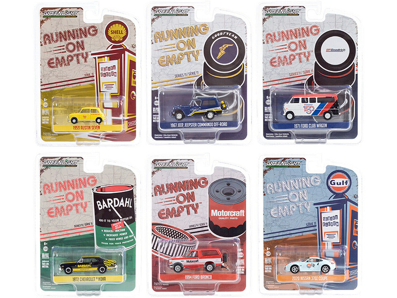 Running on Empty 6 piece Set Series 11 1/64 Diecast Model Cars Greenlight 41110