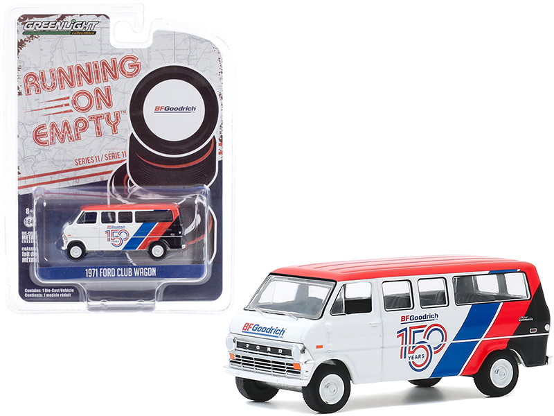 1971 Ford Club Wagon Bus White Red Stripes BFGoodrich 150th Anniversary Running on Empty Series 11 1/64 Diecast Model Greenlight 41110 C