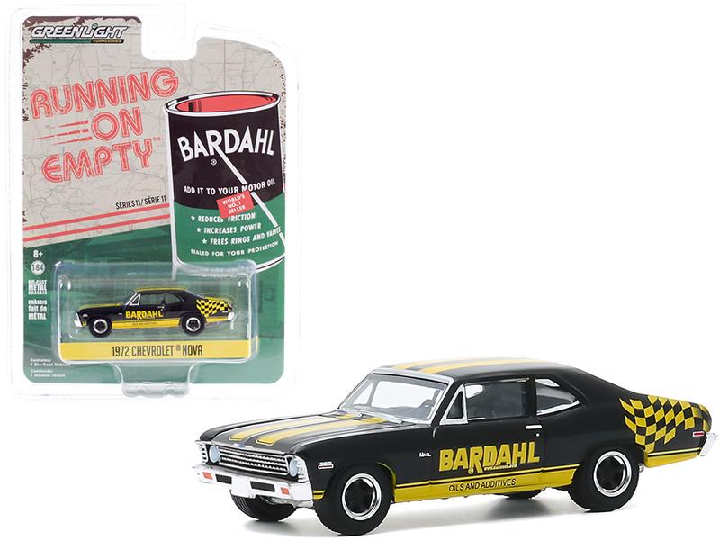 1972 Chevrolet Nova Black Yellow Bardahl Running on Empty Series 11 1/64 Diecast Model Car Greenlight 41110 D