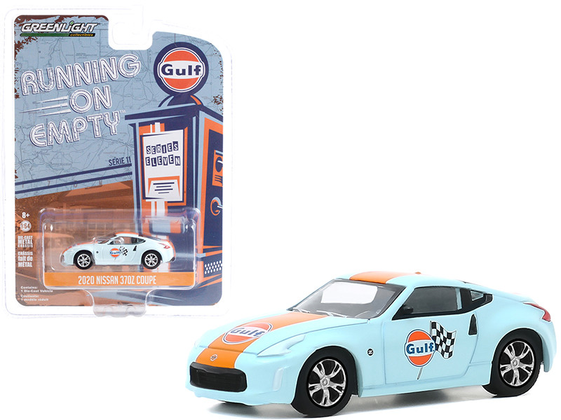 2020 Nissan 370Z Coupe Light Blue Orange Stripe Gulf Oil Running on Empty Series 11 1/64 Diecast Model Car Greenlight 41110 F