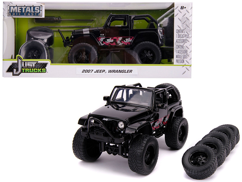 2007 Jeep Wrangler Black Extra Wheels Just Trucks Series 1/24 Diecast Model Car Jada 31560