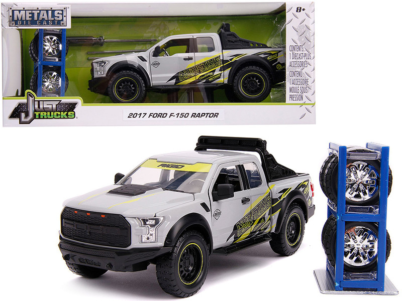 2017 Ford F-150 Raptor Pickup Truck Addictive Desert Designs Gray Extra Wheels Just Trucks Series 1/24 Diecast Model Car Jada 31561