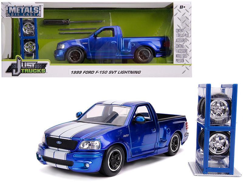 1999 Ford F-150 SVT Lightning Pickup Truck Candy Blue White Stripes Extra Wheels Just Trucks Series 1/24 Diecast Model Car Jada 31567