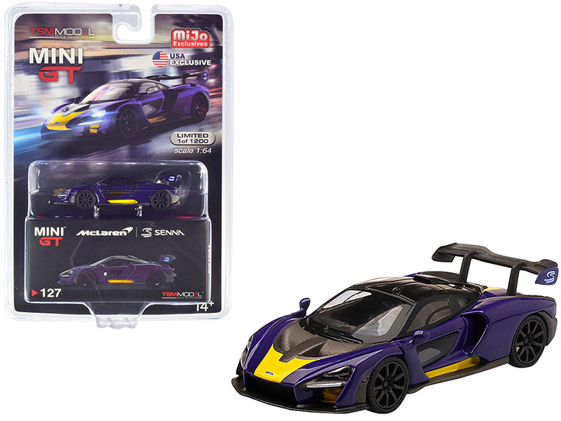 McLaren Senna Purple Yellow Limited Edition 1200 pieces Worldwide 1/64 Diecast Model Car True Scale Miniatures MGT00127