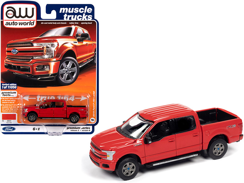 2019 Ford F-150 Lariat Pickup Truck Race Red Muscle Trucks Limited Edition 11056 pieces Worldwide 1/64 Diecast Model Car Autoworld 64262 AWSP041 B
