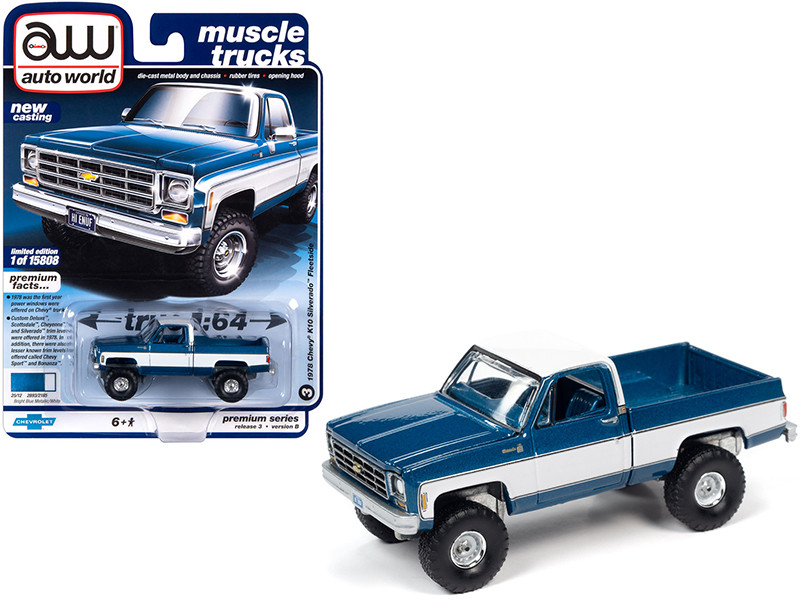 1978 Chevrolet K10 Silverado Fleetside Pickup Truck Blue Iridescent Metallic White Muscle Trucks Limited Edition 15808 pieces Worldwide 1/64 Diecast Model Car Autoworld 64262 AWSP044 B