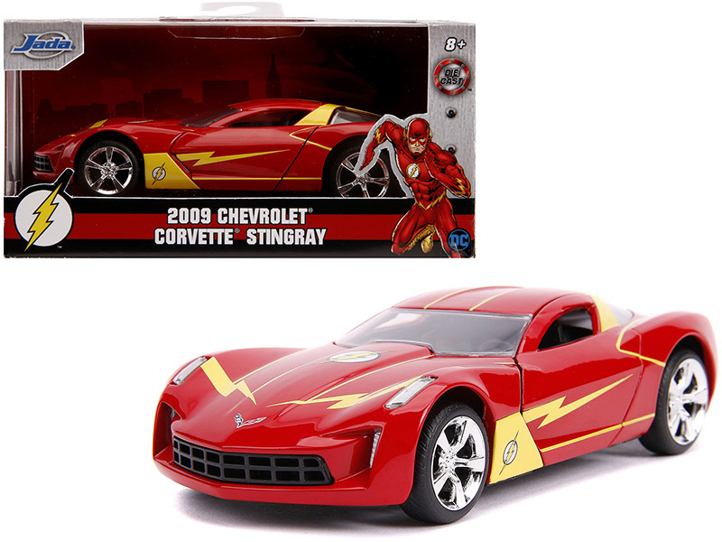 2009 Chevrolet Corvette Stingray Red Yellow The Flash DC Comics Hollywood Rides Series 1/32 Diecast Model Car Jada 31610