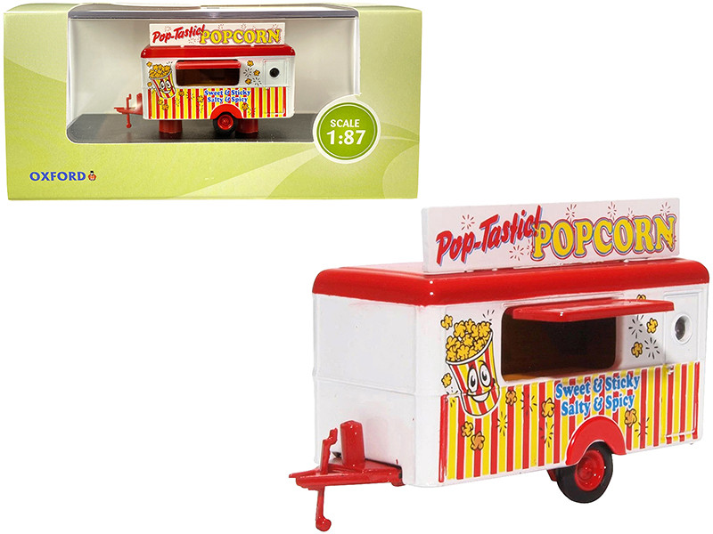 Mobile Food Trailer Popcorn 1/87 HO Scale Diecast Model Oxford Diecast 87TR016