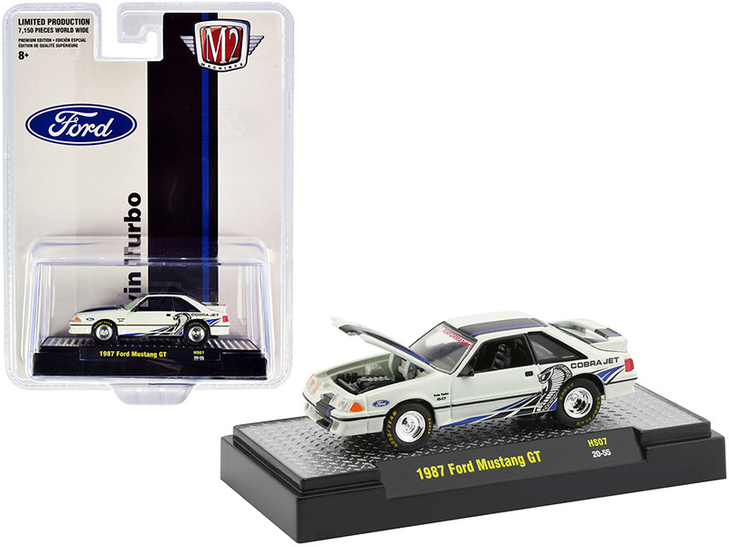 1987 Ford Mustang GT Twin Turbo Wimbledon White Black Blue Stripes Limited Edition 7150 pieces Worldwide 1/64 Diecast Model Car M2 Machines 31500-HS07