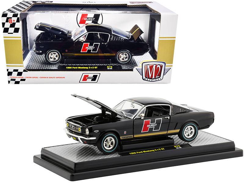 1966 Ford Mustang GT 2+2 Black Gold Stripes Hurst Limited Edition 6880 pieces Worldwide 1/24 Diecast Model Car M2 Machines 40300-79 A