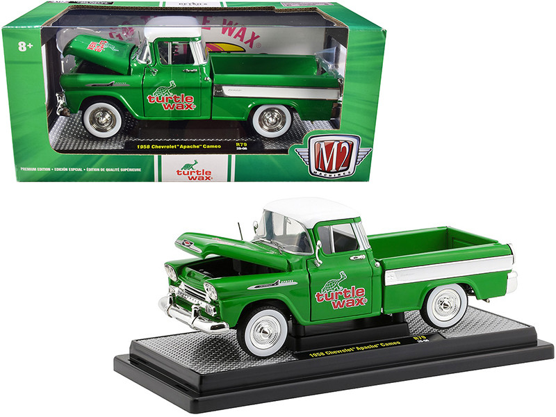 1958 Chevrolet Apache Cameo Pickup Truck Green White Top White Stripes Turtle Wax Limited Edition 6880 pieces Worldwide 1/24 Diecast Model Car M2 Machines 40300-79 B