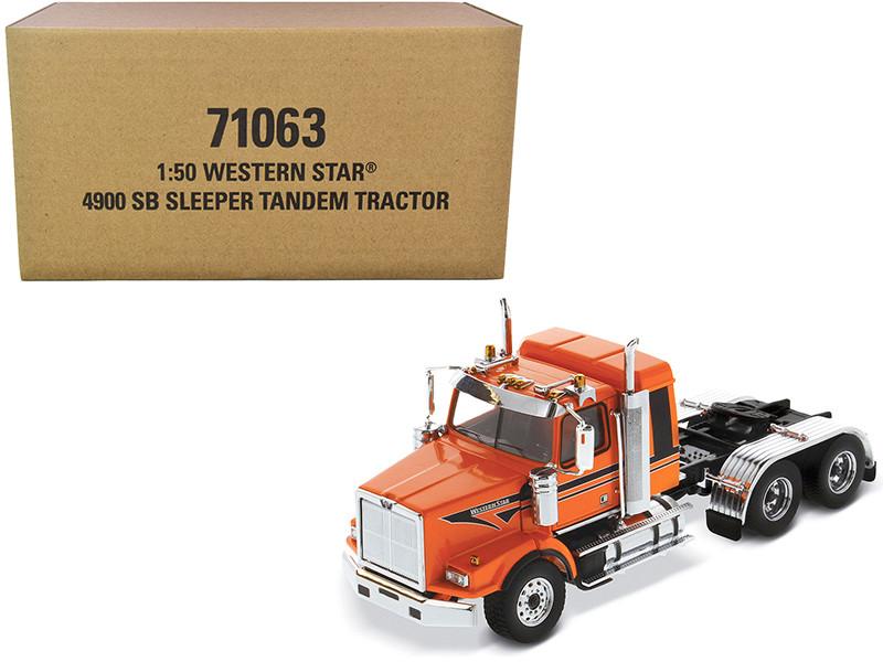 Western Star 4900 SB Tandem Sleeper Cab Truck Tractor Orange Black Stripes Transport Series 1/50 Diecast Model Diecast Masters 71063