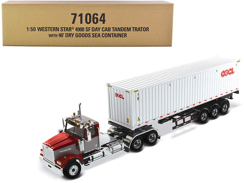 Western Star 4900 SF Tandem Day Cab Truck Tractor Red Gray 40' Dry Goods Sea Container OOCL White Transport Series 1/50 Diecast Model Diecast Masters 71064
