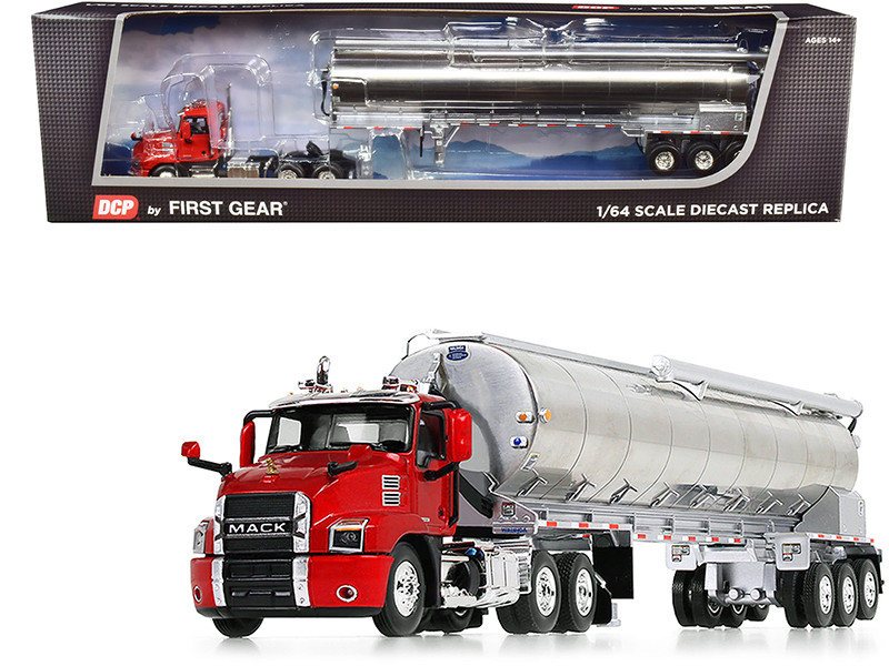 Mack Anthem Day Cab Walinga Bulk Feed Tri-Axle Trailer Red Silver 1/64 Diecast Model DCP First Gear 60-0825