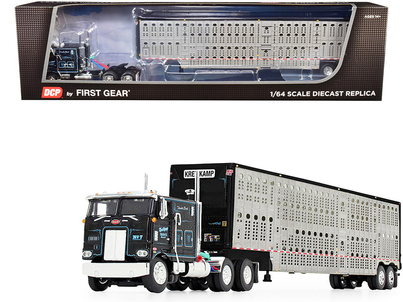 "Peterbilt 352 COE 110"" Sleeper Cab Wilson Livestock Tandem-Axle Trailer Kreilkamp Trucking Black Silver 1/64 Diecast Model DCP First Gear 60-0844"